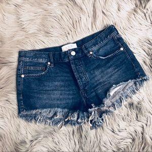 Free People Dark-Wash Frayed Hem Denim Shorts